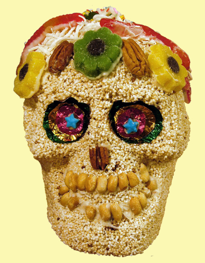 Mexican sugar skull, amaranth
