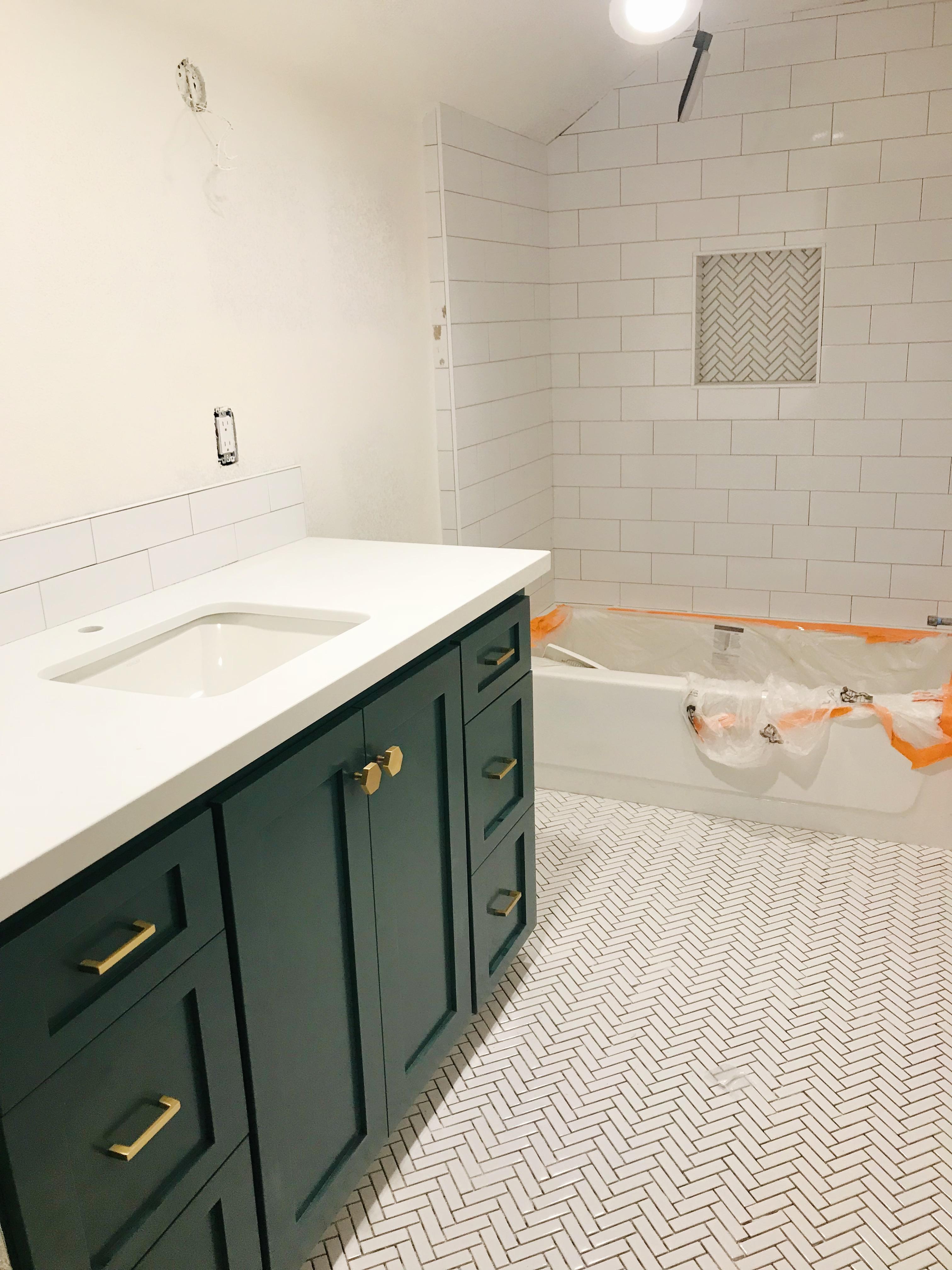 I Had Seen Herringbone Floors From Jenny Komendau0027s Blog, And I LOVED Them,  So We Did Herringbone Floors In This Bathroom And In The Shower Niche.