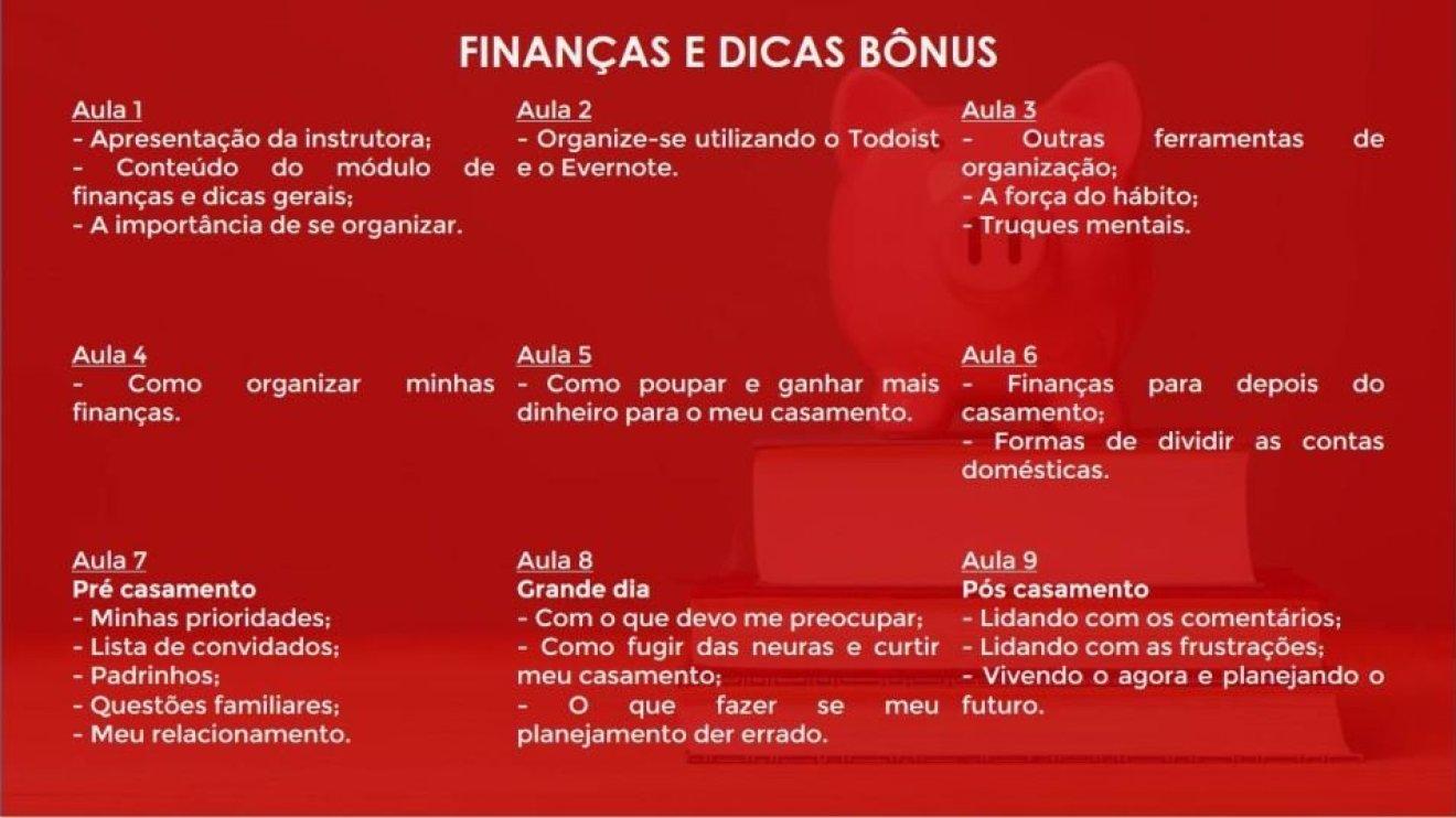 Conteúdo da matéria de finanças e dicas bônus do curso do Casando sem Grana