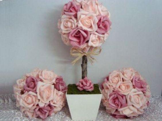 decoração casamento topiária flores papel