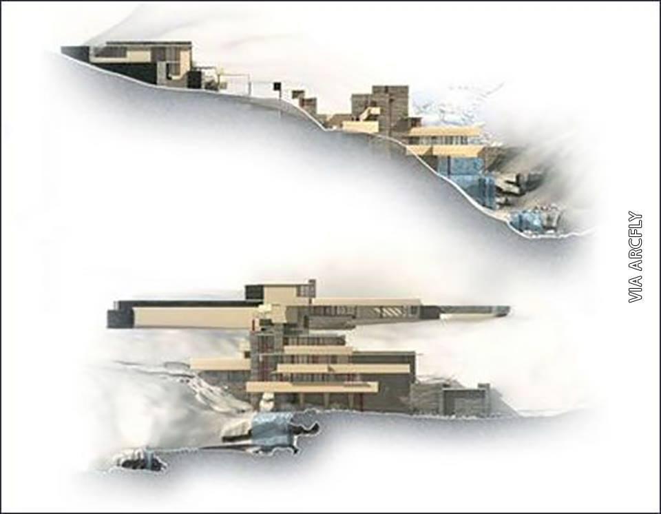 Casa de la cascada, fachadas