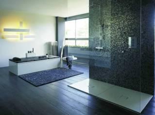 Ducha con pared revestida en mosaicos