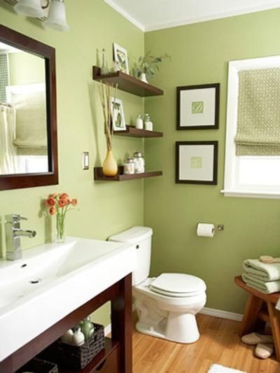baño con color y madera