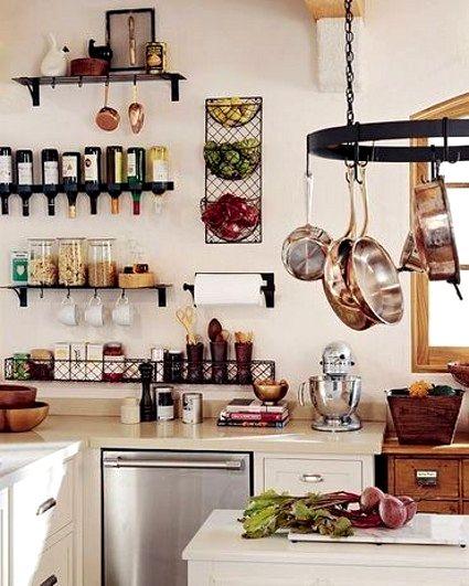 perchas y colgadores en la cocina