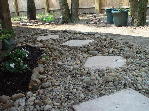 Senderos y caminos de piedras en el jard n for Jardines pequenos con grava