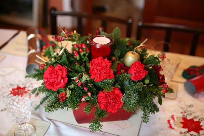 Tips decoraci n navidad centros de mesa con flores - Centros navidenos de mesa ...