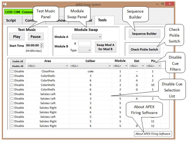 APEX Tools Screen