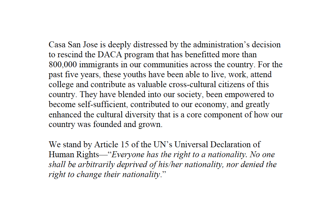 Casa San Jose Statement on DACA