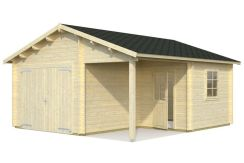 garaje en madera Roger 21.9 de Casas Carbonell con puertas cocheras de madera