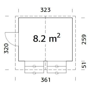 plano Kiosco de madera Stella 8,2
