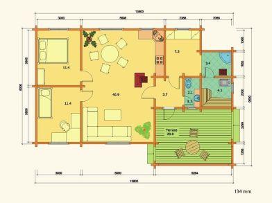 Plano de casa en kit de madera Britta