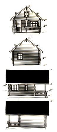 Alzados de casas de madera en kit johanna