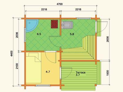 Plano de planta del modelo casa de madera en kit Sauna Sofia