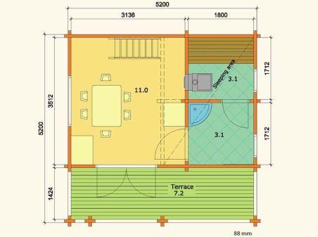 Plano de casita de madera sauna Leia 1