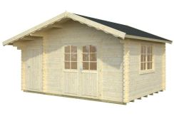 casetas de jardín en madera Emma 14.2 de Casas Carbonell, montaje invertida
