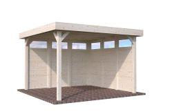 pergola de jardín de madera Lucy 12.2 de Casas Carbonell con pijos laterales con cristal