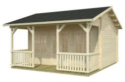 caseta de jardín con terraza Susanna 15.5 de Casas Carbonell de madera de 44 mm