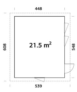 plano de Caseta de Jardín Aislada Nórdica ANNIKA 21,5