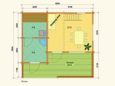 plano de caseta de madera sauna Leia 2