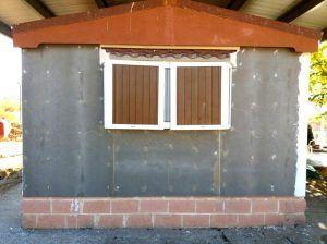 reparación de casa prefabricada, aplicado el tablero de cemento
