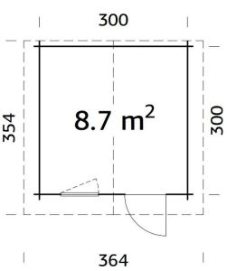 Cabaña caseta de jardín LAURA 8,7 plano de planta