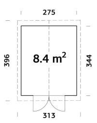 Cobertizo de madera Martin 8,4 plano