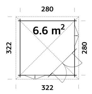 Plano de Pabellón de madera MELANIE 6,6