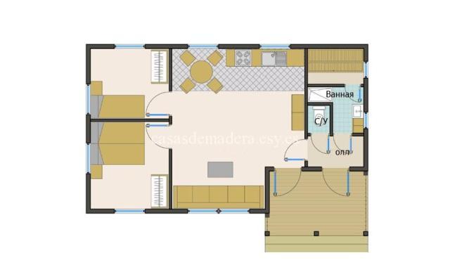 casa de maderas 002 6 - Casa de madera Modelo 002