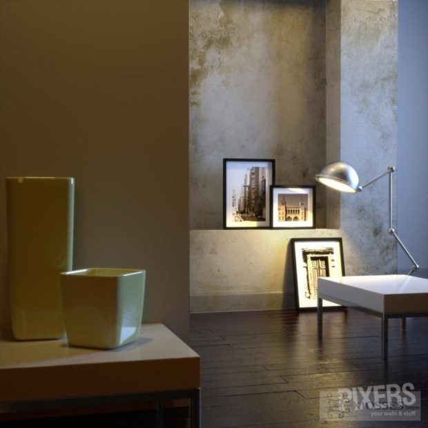Interior of home with chrome lamp and frames
