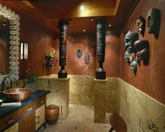 Pacific-Island-masks-and-African-drums-create-a-fascinatingly-unique-powder-room