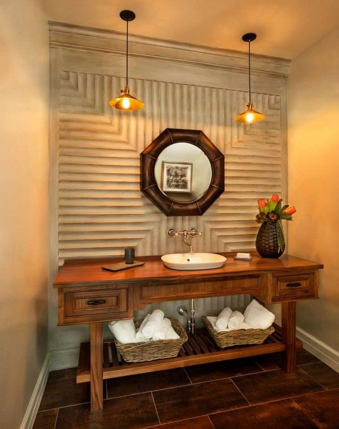 Textured-walls-and-unique-mirror-for-the-smart-powder-room