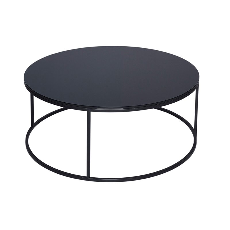 piera black glass coffee table with black open base