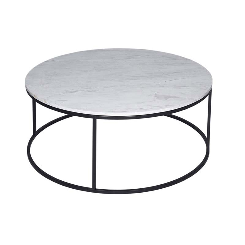 paco round marble coffee table black frame