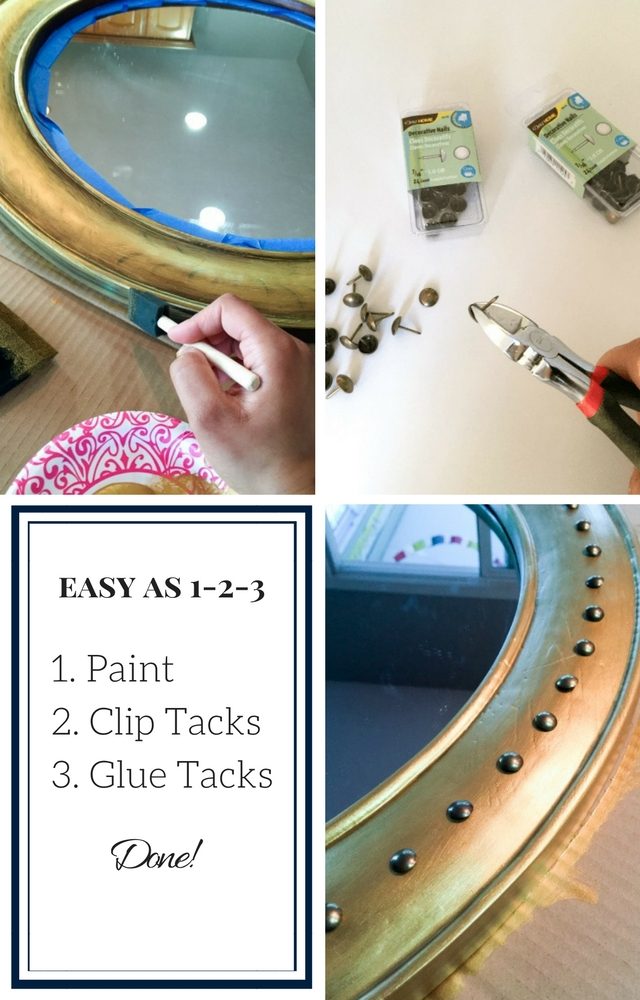 Make a nautical porthole mirror with upholstery tacks!