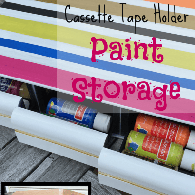 Craft Paint Storage from Upcycled Cassette Tape Holder