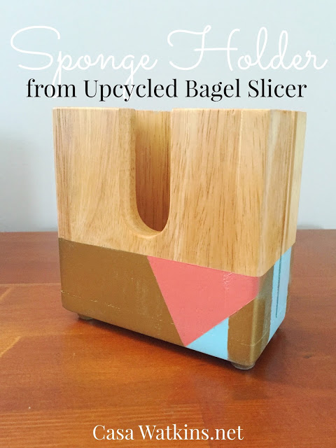 Upcycled Bagel Slicer into Kitchen Sponge Holder