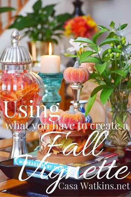 fall, vignette, pumpkins, leaves, decor, home,