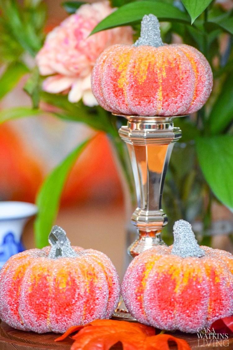fall pumpkins on coffee table