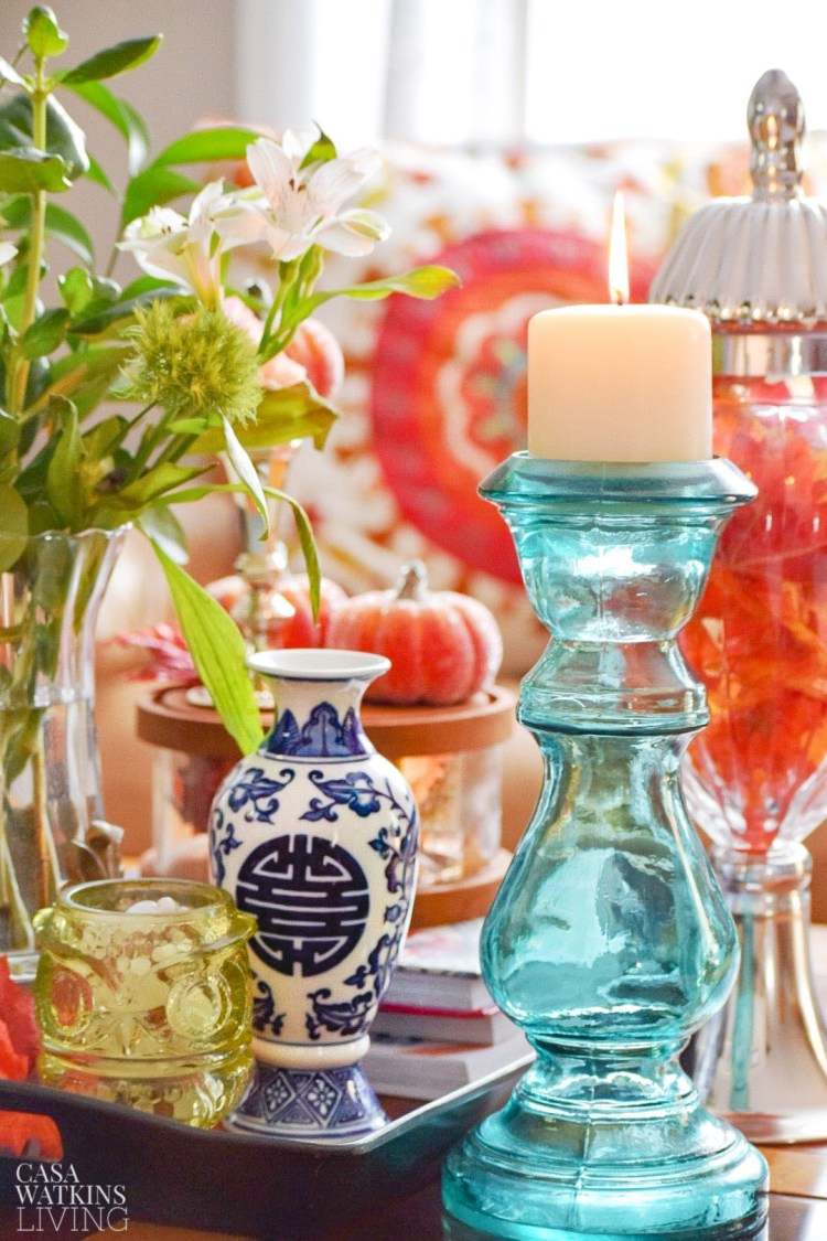 teal and orange fall decorating ideas