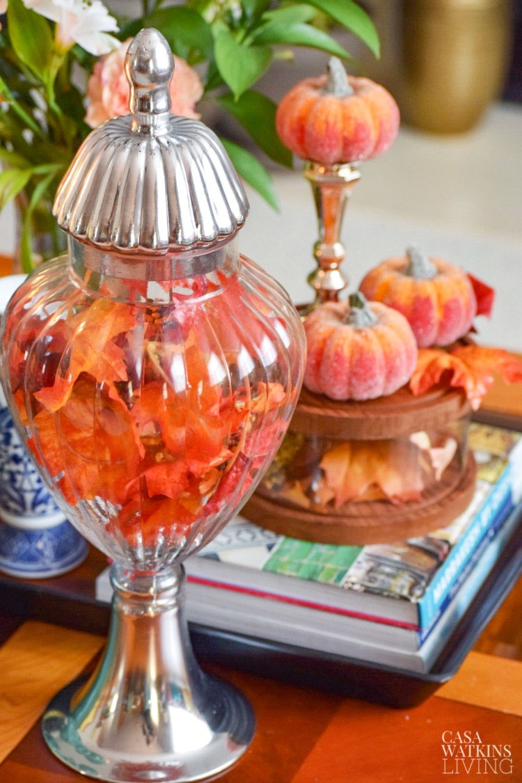 fall apothecary jar with leaves