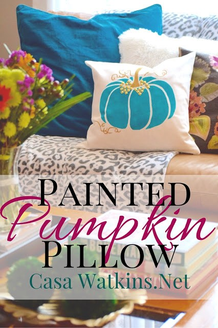 Fall, Halloween, DIY, pillow, stenciled