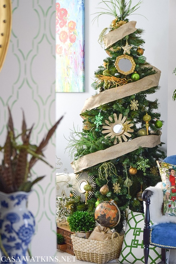 my home style green and gold global eclectic christmas tree decorating the christmas tree is one of my favorite holiday events we make hot chocolate bake cookies and finish up the night by decorating the tree as a