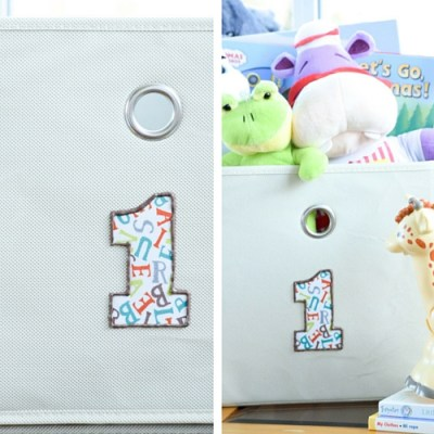 DIY No-Sew Applique Labels for Canvas Bins and Giveaway