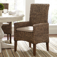 Woven Seagrass Arm Chairs (Set of 2)