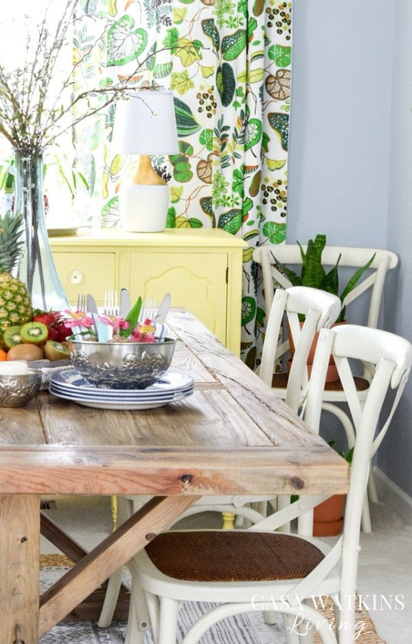 Farmhouse table looks great even in global theme dining room