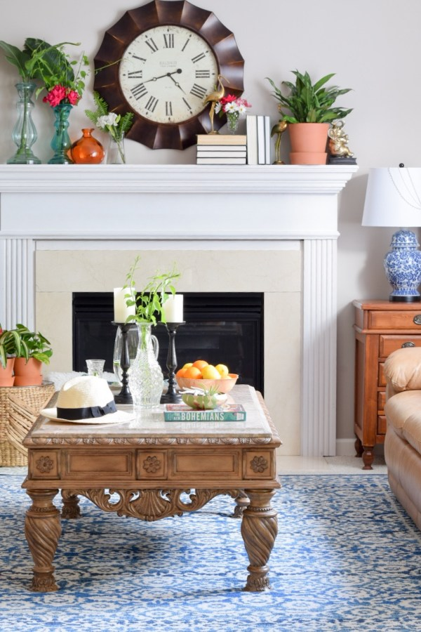 Ornate coffee table fits with global boho summer decor