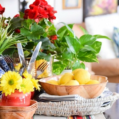 Using Potted Flowers in Summer Kitchen Vignette