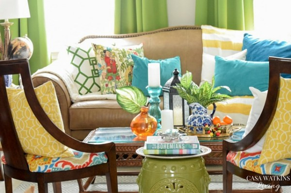 Super colorful living room with global, tropical style