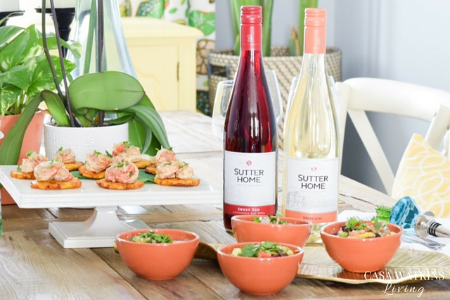 Wine Sipper Menu: White Zinfandel Peach Snowball, Sauteed Shrimp with Tostones, with Mango Avocado Summer Salad