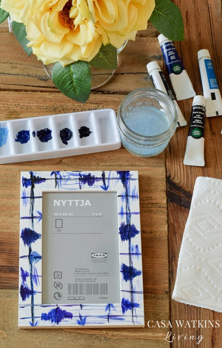 how to make a painted faux shibori frame tutorial